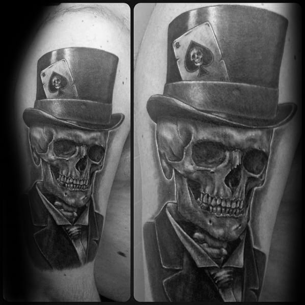 3d Shaded Arm Skull With Top Hat Guys Tattoo Ideas