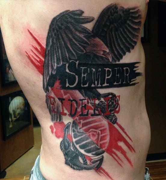 Abstract Marine Semper Fidelis Mens Rib Cage Side Tattoos