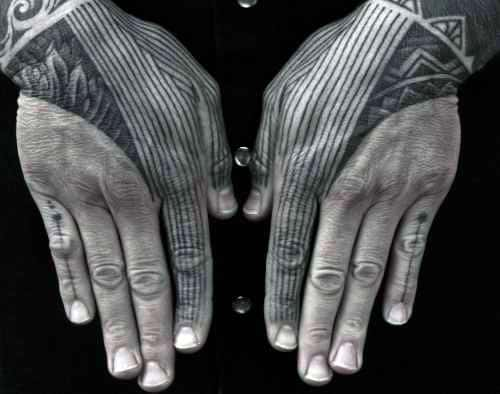 Abstract Thin Black Lines Finger And Hand Mens Tattoos