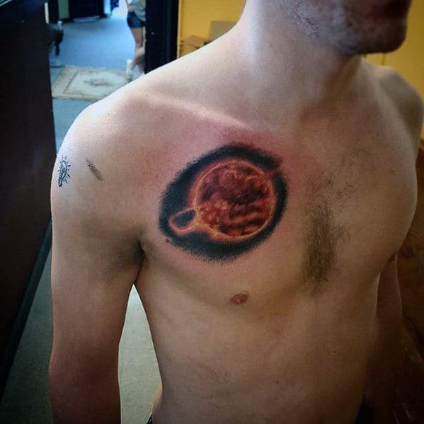 Amazing Mens Sun Outer Space Small Chest Tattoo Designs