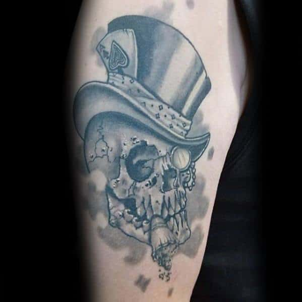 Arm Incredible Skull With Top Hat Tattoos For Men