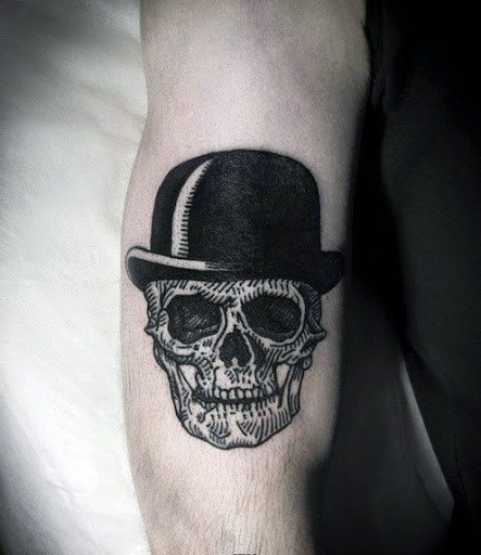 Arm Skull With Top Hat Tattoo Designs For Guys