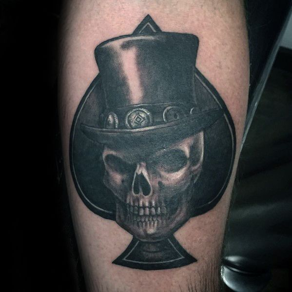 Arm Spade 3d Skull With Top Hat Tattoo Ideas For Males