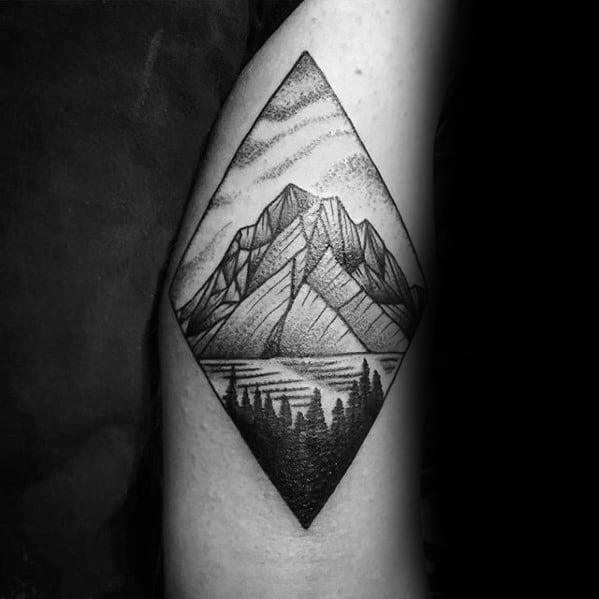 Artistic Male Geometric Mountain Tattoo Ideas