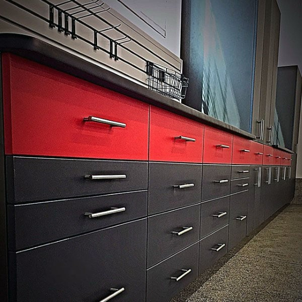 Awesome Two Tone Black And Red Color Garage Storage Cabinets