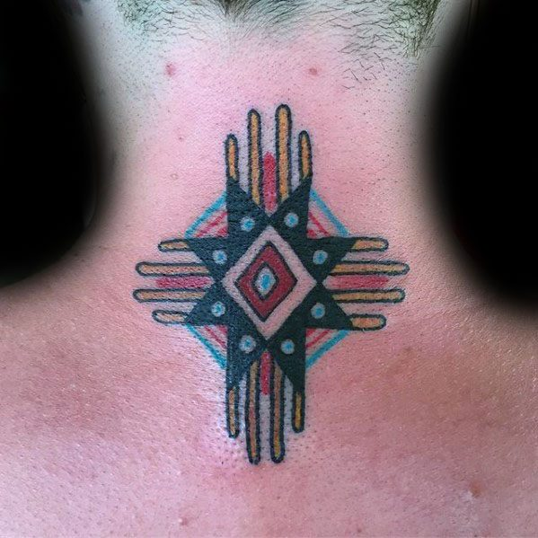 Back Of Neck Traditional Old School Mens Zia Tattoo Ideas