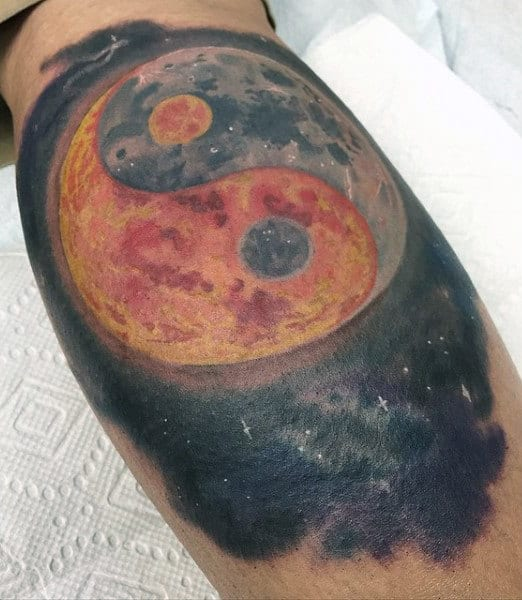 Bicep Sun Moon Yin Yang Tattoo Designs For Men