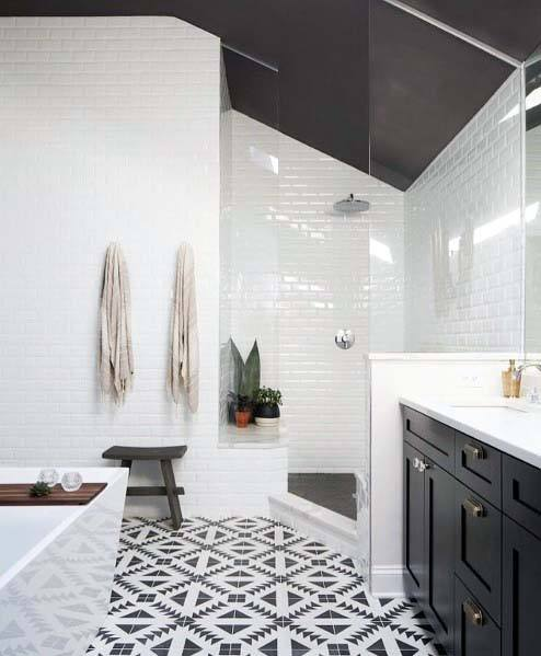 Ordinaire Black And White Bathroom Ideas Pattern Tile Flooring