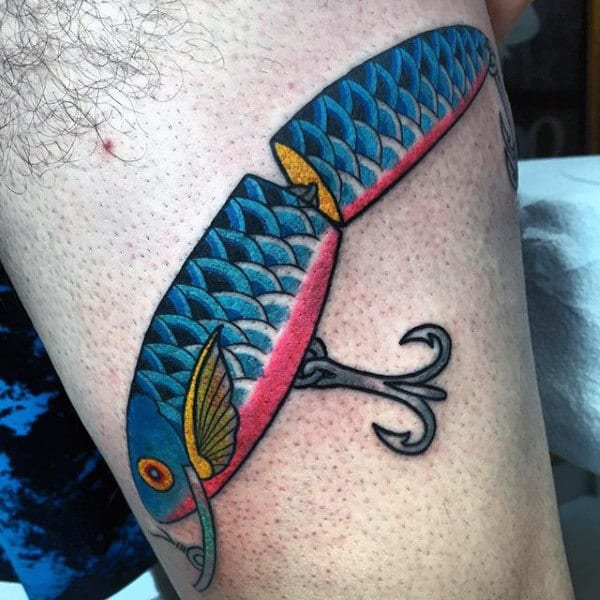 Blue Red And Yellow Fish Hook Lure Tattoo For Men On Arm