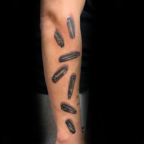 Bullet Casings Marine Guys Forearm Tattoos