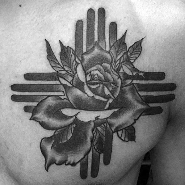 Chest Rose Flower Awesome Zia Tattoos For Men