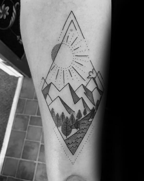 Cool Geometric Mountain Tattoo Design Ideas For Male