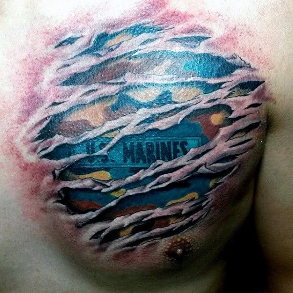 Cool Mens Camo Us Marines Patch Upper Chest Tattoo With Ripped Skin Design
