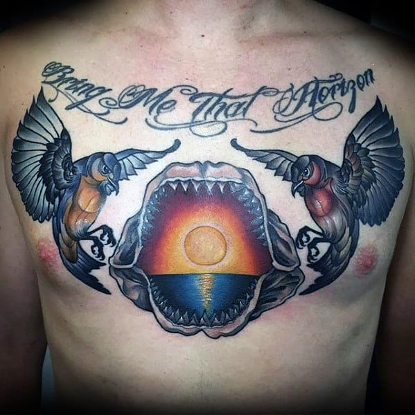 Cool Sunset Over Ocean Shark Jaw Mens Upper Chest Tattoos