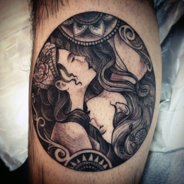 Creative Bicep Mens Yin Yang Tattoos