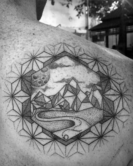 Creative Geometric Mountain Tattoos For Men