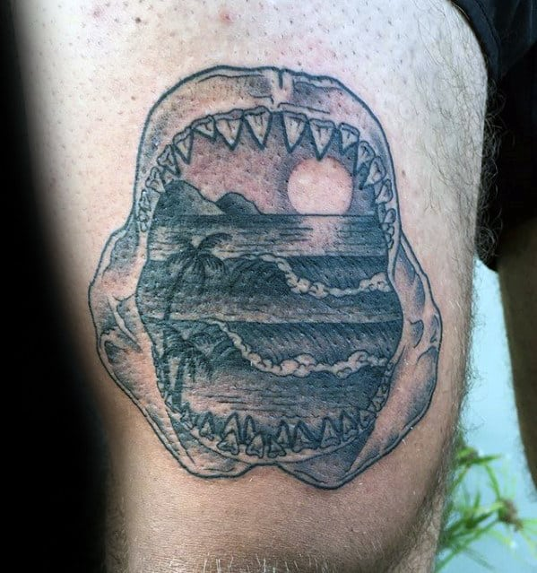 Detailed Shark Jaw Ocean Wave With Sunset Mens Thigh Tattoos