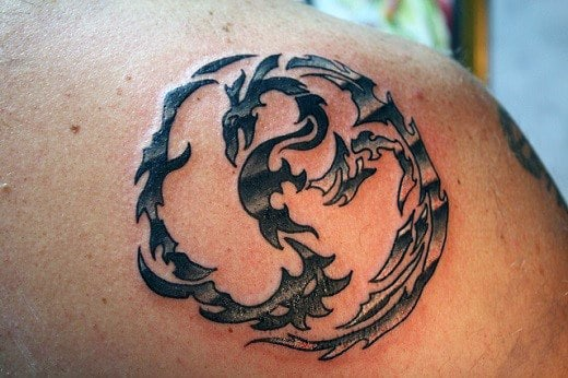 Dragon Yin Yang Shoulder Tattoo For Men