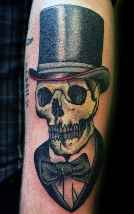 Forearm Guys Skull With Top Hat Tattoos
