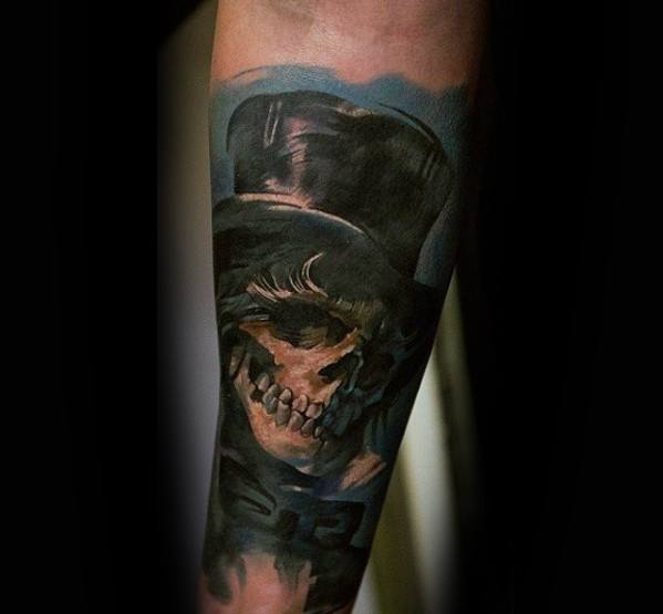 Forearm Sleeve 3d Realistic Guys Skull With Top Hat Tattoo Designs