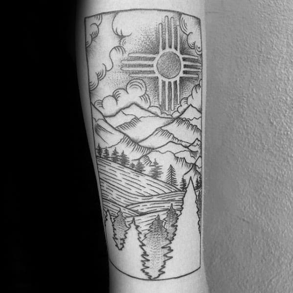 Forest With Mountains Male Zia Forearm Tattoo Ideas
