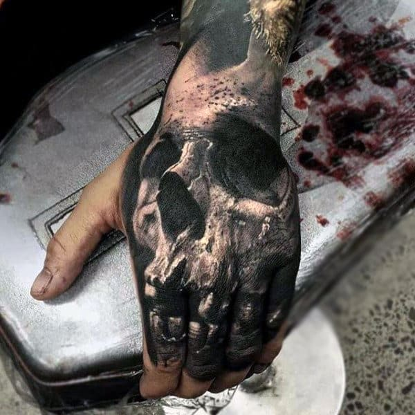 Full 3d Skull Hand And Finger Tattoo For Men In Black Ink