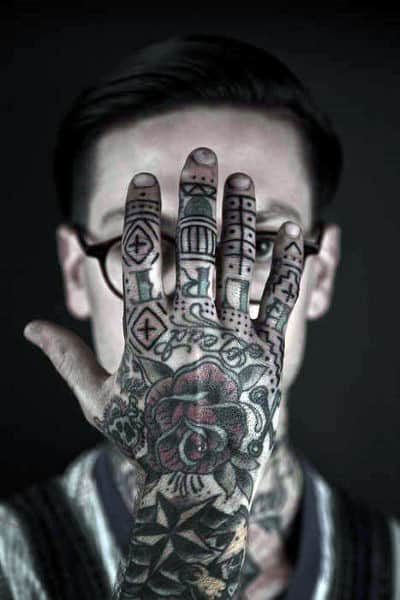 Full Mens Hand And Finger Tattoos With Unique Design Style