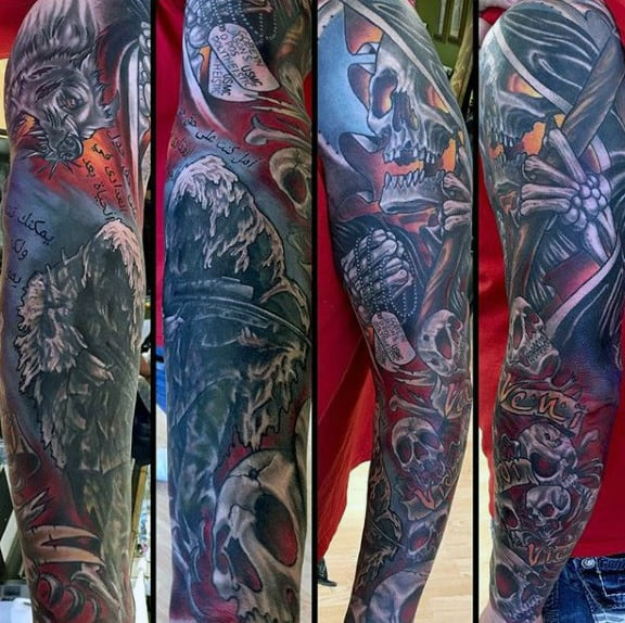 Full Sleeve Marine Themed Male Tattoo Ideas