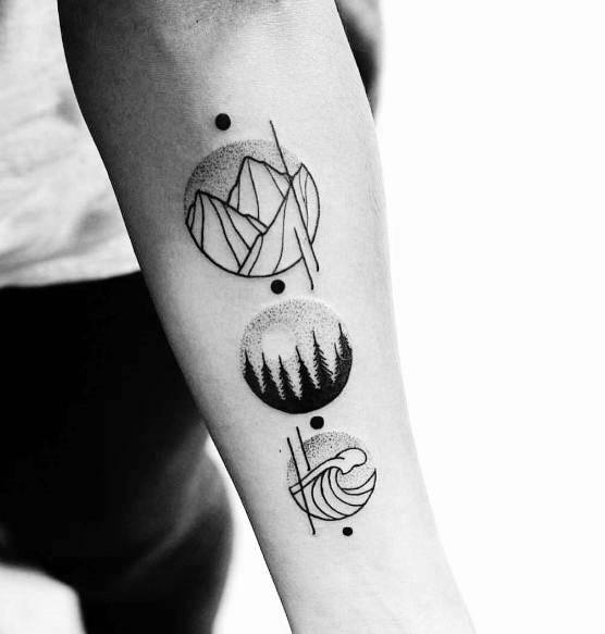 Geometric Mountain Guys Tattoo Designs