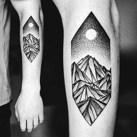 Geometric Mountain Mens Tattoo Designs