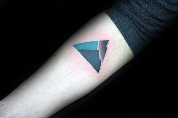 Guy With Geometric Mountain Tattoo Design