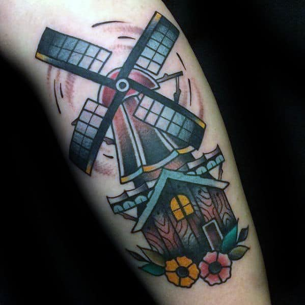 Guy With Windmill Cabin Traditional Leg Tattoo