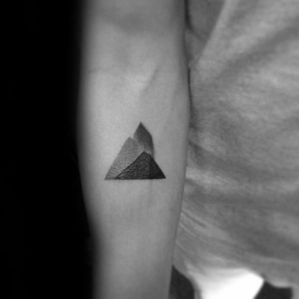 Guys Geometric Mountain Tattoo Designs