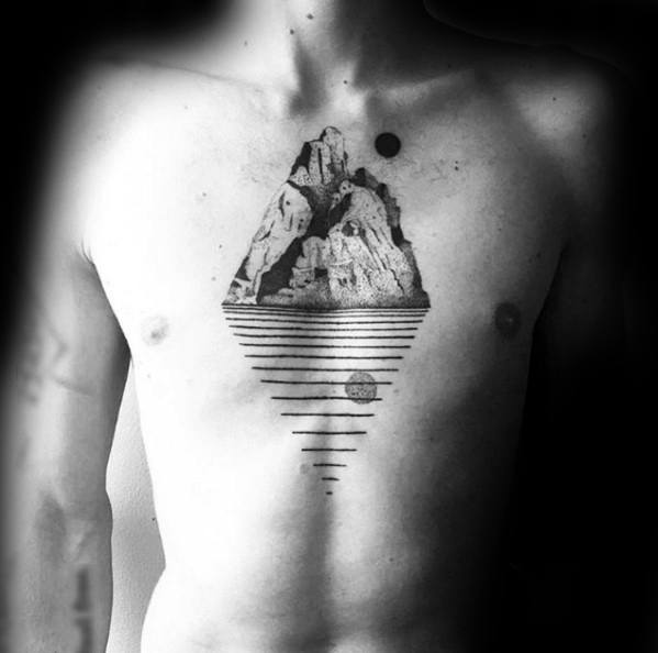 Guys Geometric Mountain Tattoos