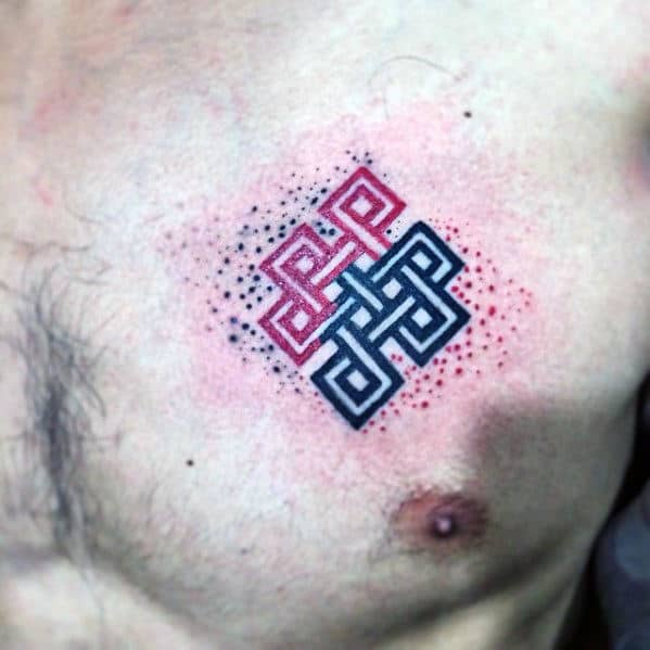 Guys Repeating Knot Black And Red Ink Small Upper Chest Tattoos