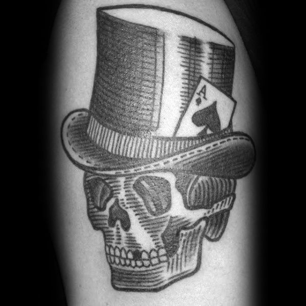 Guys Skull With Top Hat Tattoo Arm Sketched Design Ideas