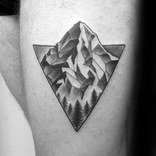 Guys Tattoos With Geometric Mountain Design