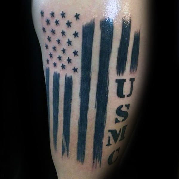Guys Usmc Flag Arm Tattoos