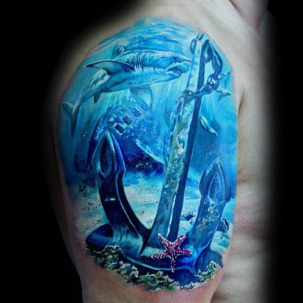 Incredible 3d Realistic Underwater Anchor And Starfish Arm Tattoos For Men