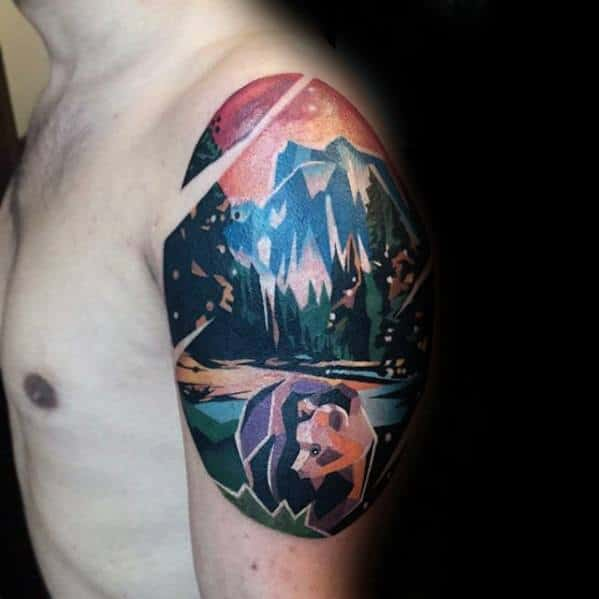 Incredible Geometric Mountain Tattoos For Men