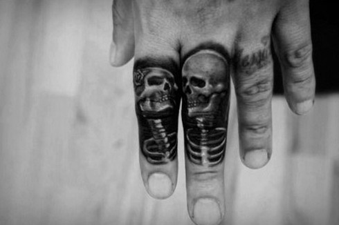Incredible Mens Skeleton Finger Tattoo