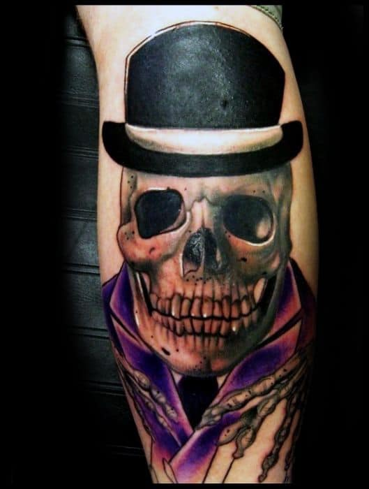Leg Calf Amazing Mens Skull With Top Hat Tattoo Designs