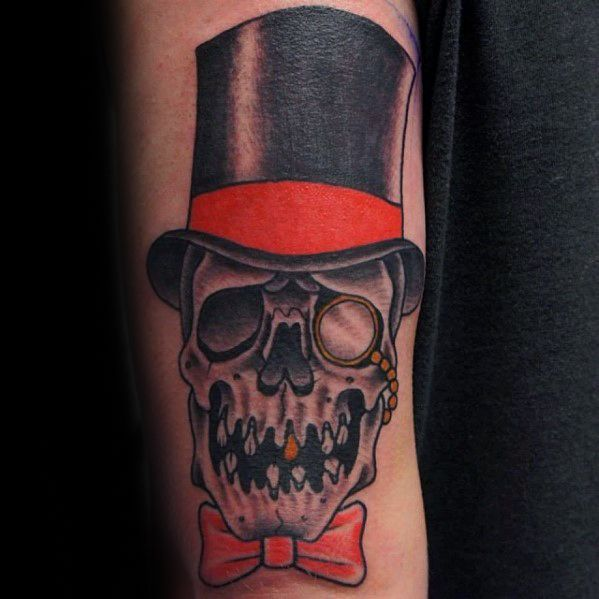 Male Skull With Top Hat Arm Tattoo Ideas