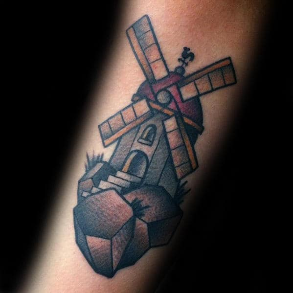 Man With Small Windmill Old School Traditional Inner Forearm Tattoo
