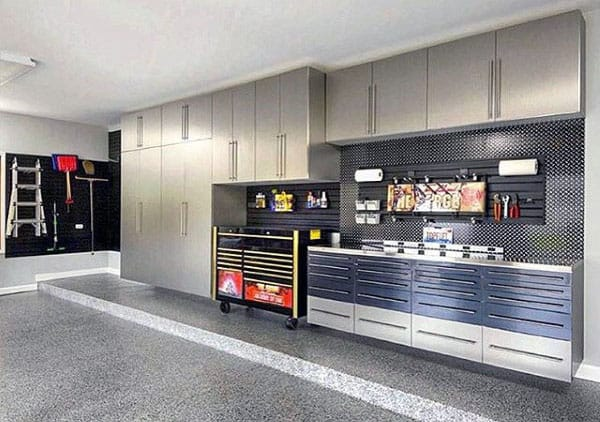 Manly Garage Designs With Cool Wall Storage Cabinets And Slat Board Rack For Tools