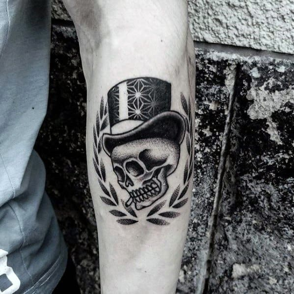 Manly Skull With Top Hat Tattoo Design Ideas For Men On Outer Forearm