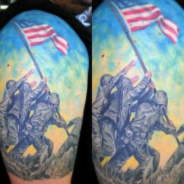 Marines Raising American Flag Mens Half Sleeve Tattoo