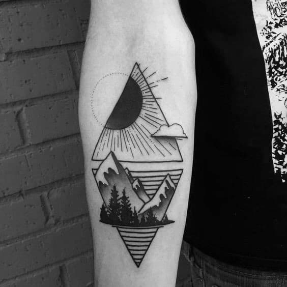 Masculine Geometric Mountain Tattoos For Men