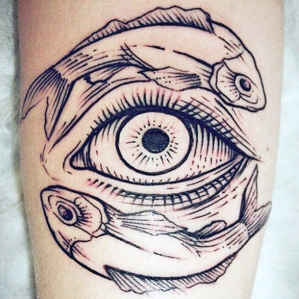 Masculine Mens Tattoo Designs Yin Yang On Leg Calf With All Seeing Eye