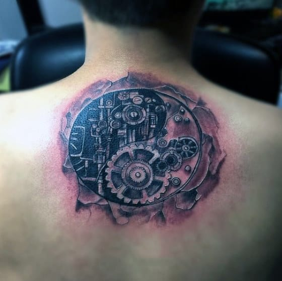 Mechanical Gear Tattoo Yin Yang For Men On Back